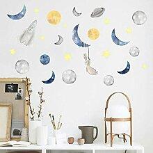 Cartoon Mond Kaninchen Sternenhimmel Wandaufkleber