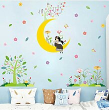 Cartoon Mond Mädchen Wandaufkleber Baby Zimmer