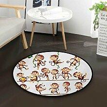 Cartoon Monkey Round Area Teppich für Wohnzimmer
