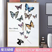 Cartoon Muster Kleiderschrank Tür Aufkleber PVC