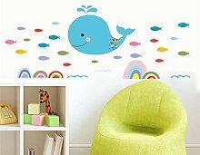 Cartoon Ocean Whale Fish Wandtattoos Kinderzimmer