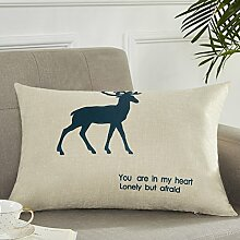 Cartoon Pillow Cushion,Bedside Waist Pillow Back Pad,Sofa Seat Cotton Linen Pillowcase Without Core-A 30x50cm(12x20inch)VersionA