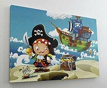 Cartoon Pirat Piratenschiff Schatz Leinwand Bild