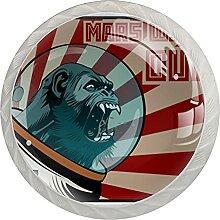 Cartoon-Raumfahrer Gorilla Glasknöpfe für