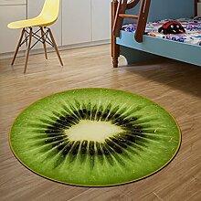 Cartoon runden Teppich Wohnzimmer Yoga Matten Computer Stuhl Kissen Obst ( Farbe : Kiwi , größe : 60 cm )
