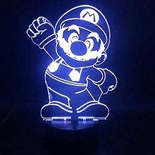 Cartoon-Spiel Mario Gruß 3D-Lampe Schönes