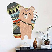 Cartoon Tier Tribal Bär Wandtattoo Waldtiere Bär