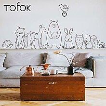 Cartoon Tier Wandaufkleber Bär Shy Fox Baby