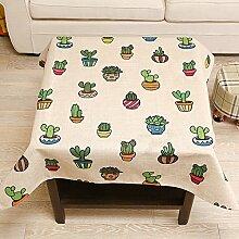 Cartoon Tisch Tuch Baumwolle Bettwäsche–memorecool Haustierhaus Pflanzen Kunstdruck Succulents auf Pure Color Quadratisch Home Decor 83,8x 83,8cm, baumwolle, cactus, 33x33inch