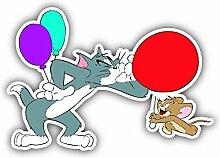 Cartoon Tom und Jerry Luftballons Auto-Aufkleber