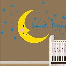 Cartoon Vinyl Wandaufkleber Fee Mond Und Sterne