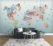 Cartoon Welt Tierkarte Wandsticker Kinderzimmer