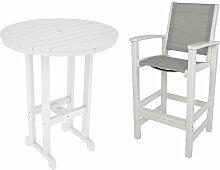 CASA BRUNO Bar-Essgruppe Coastal (2 Stühle mit Armlehne + Tisch Ø 90 cm) aus recyceltem Polywood® HDPE Kunststoff, weiss / Stoff metallic - kompromisslos wetterfes
