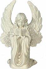 Casa Collection 09306 Engel mit großen Flügeln, kniend, betend, Höhe 60 cm, antikweiß