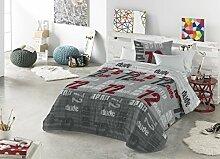 Casa Creativa Peyton Tagesdecke mit Dekokissenhülle Bett mit 105 cm Breite Grau