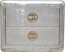Casa Padrino Aluminium Nacht Schrank mit 2 Schubladen B 75 cm, H 60 cm - Vintage Flieger Möbel