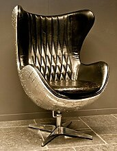 Casa Padrino Art Deco Egg Chair Drehstuhl Sessel Aluminium / Echt Leder Schwarz - Club Sessel - Lounge Sessel - Vintage Airplane Möbel