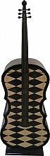 Casa Padrino Art Deco Schubladen Schrank Karo Muster im Bass Instrumenten Design - Handgefertigt - Designer Schubladen Schrank