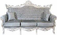 Casa Padrino Barock 3er Sofa Master Grau/Silber