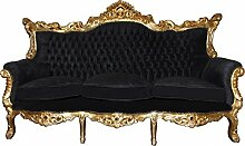 Casa Padrino Barock 3er Sofa Master Schwarz/Gold