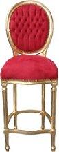 Casa Padrino Barock Bar Stuhl Bordeaux Rot / Gold