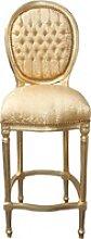 Casa Padrino Barock Bar Stuhl Gold Muster / Gold -