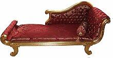 Casa Padrino Barock Chaiselongue Modell XXL Bordeaux Rot Muster/Gold- Antik Stil - Recamiere Wohnzimmer Möbel
