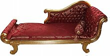 Casa Padrino Barock Chaiselongue Modell XXL Bordeaux Rot Muster / Gold- Antik Stil - Recamiere Wohnzimmer Möbel