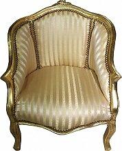 Casa Padrino Barock Damen Salon Sessel Gold Streifen / Gold - Möbel Antik Stil