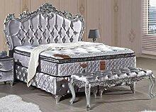 Casa Padrino Barock Doppelbett Silber -