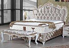 Casa Padrino Barock Doppelbett Silber/Weiß/Gold -
