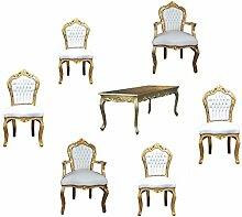 Casa Padrino Barock Esszimmer Set Gold/Weiss -