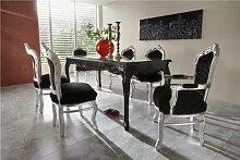 Casa Padrino Barock Esszimmer Set Schwarz/Silber -