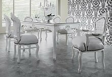 Casa Padrino Barock Esszimmer Set Weiß/Weiß -