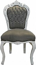 Casa Padrino Barock Esszimmer Stuhl Grau/Weiß mit