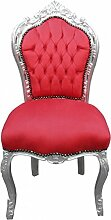 Casa Padrino Barock Esszimmer Stuhl Rot/Silber