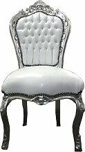 Casa Padrino Barock Esszimmer Stuhl Weiß/Silber -