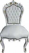 Casa Padrino Barock Esszimmer Stuhl Weiß/Weiß /
