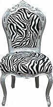 Casa Padrino Barock Esszimmer Stuhl Zebra/Silber