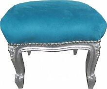 Casa Padrino Barock Fußhocker Blau / Silber - Antik Stil Möbel - Hocker