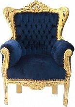 Casa Padrino Barock Kinder Sessel Royalblau/Gold -