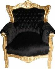 Casa Padrino Barock Kinder Sessel Schwarz/Gold