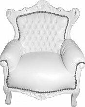 Casa Padrino Barock Kinder Sessel/Thron Weiß/Weiß