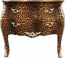 Casa Padrino Barock Kommode Leopard mit silbernen