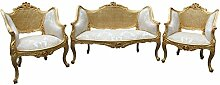 Casa Padrino Barock Salon Sitzbank + 2 Sessel Creme/ Gold - Cocktailset- Salon Se