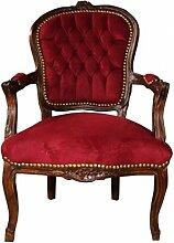 Casa Padrino Barock Salon Stuhl Bordeaux/Braun -