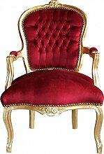 Casa Padrino Barock Salon Stuhl Bordeaux/Gold -