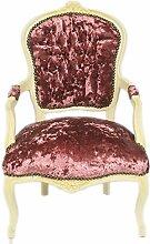 Casa Padrino Barock Salon Stuhl Bordeaux Velour Stoff / Creme - Antik Design Möbel
