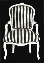 Casa Padrino - Barock Salon Stuhl Schwarz / Weiß Streifen / Weiß - Möbel gestreif