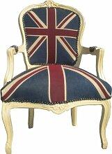 Casa Padrino Barock Salon Stuhl Union Jack Design / Creme